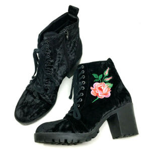 Report Clarissa Black Velvet Flower Heeled Boots
